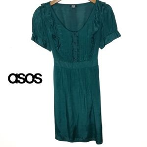 ASOS Hunter Green Dress-Size 12-Ruffle Bodice